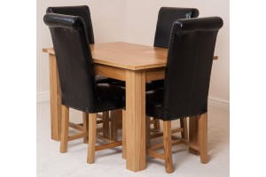 Hampton Solid Oak 120-160cm Extending Dining Table with 4 Washington Dining Chairs [Black Leather]