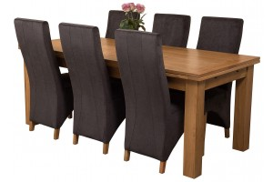 Richmond Solid Oak 200cm-280cm Extending Dining Table with 6 Lola Dining Chairs [Black Fabric]