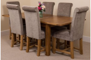 Cotswold Rustic Solid Oak 132cm-198cm Extending Farmhouse Dining Table with 6 Washington Dining Chairs [Grey Fabric]