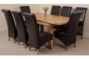 Seattle Solid Oak 150cm-210cm Extending Dining Table with 8 Montana Dining Chairs [Brown Leather]