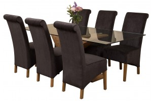Valencia Oak 200cm Wood and Glass Dining Table with 6 Montana Dining Chairs [Black Fabric]