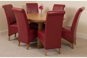 Edmonton Solid Oak Extending Oval Dining Table With 6 Montana Dining Chairs [Burgundy Leather]