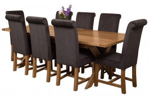 Vermont Solid Oak 200cm-240cm Crossed Leg Extending Dining Table with 8 Washington Dining Chairs [Black Fabric]