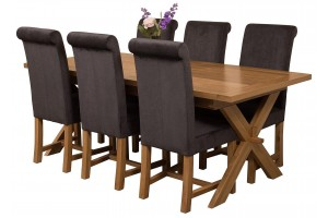 Vermont Solid Oak 200cm-240cm Crossed Leg Extending Dining Table with 6 Washington Dining Chairs [Black Fabric]