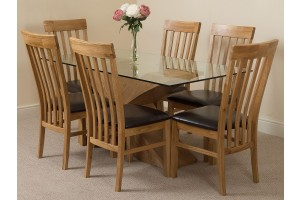 Valencia Oak 160cm Wood and Glass Dining Table with 6 Harvard Solid Oak Dining Chairs [Light Oak and Brown Leather]