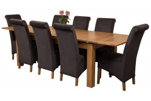 Richmond Solid Oak 200cm-280cm Extending Dining Table with 8 Montana Dining Chairs [Black Fabric]