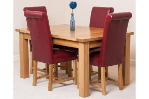 Seattle Solid Oak 150cm-210cm Extending Dining Table with 4 Washington Dining Chairs [Burgundy Leather]