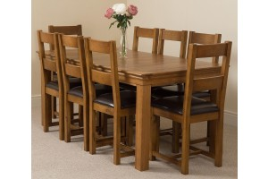 French Chateau Rustic Solid Oak 180cm Dining Table with 8 Lincoln Solid Oak Dining Chairs [Rustic Oak and Brown Leather]