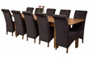 Richmond Solid Oak 200cm-280cm Extending Dining Table with 10 Montana Dining Chairs [Black Fabric]