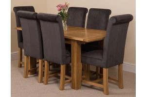 Hampton Solid Oak 120-160cm Extending Dining Table with 6 Washington Dining Chairs [Black Fabric]