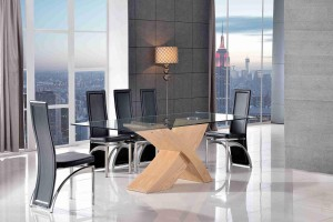 Valencia Black 200cm Wood and Glass Dining Table with 8 Alisa Dining Chair [Black]
