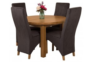Edmonton Solid Oak Extending Oval Dining Table with 4 Lola Dining Chairs [Black Fabric]