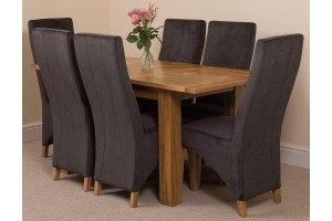 Hampton Solid Oak 120-160cm Extending Dining Table with 6 Lola Dining Chairs [Black Fabric]