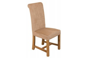 Washington Scroll Top Dining Chair [Beige Fabric]