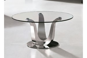 Naples Coffee Table [Glass and Polished Steel]