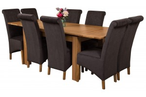 Richmond Solid Oak 140cm-220cm Extending Dining Table with 8 Montana Dining Chairs [Black Fabric]