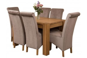 Kuba Solid Oak 125cm Dining Table with 6 Montana Dining Chairs [Grey Fabric]