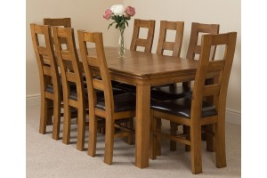 French Chateau Rustic Solid Oak 180cm Dining Table with 8 Yale Solid Oak Dining Chairs [Rustic Oak and Brown Leather]