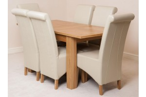 Hampton Solid Oak 120-160cm Extending Dining Table with 6 Montana Dining Chairs [Ivory Leather]
