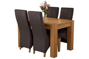 Kuba Solid Oak 125cm Dining Table with 4 Lola Dining Chairs [Black Fabric]