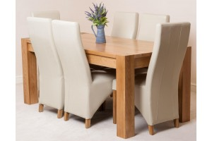 Kuba Solid Oak 180cm Dining Table with 6 Lola Dining Chairs [Ivory Leather]