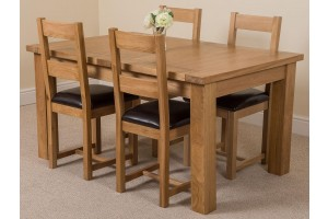 Seattle Solid Oak 150cm-210cm Extending Dining Table with 4 Lincoln Solid Oak Dining Chairs [Light Oak and Brown Leather]