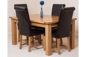 Seattle Solid Oak 150cm-210cm Extending Dining Table with 4 Washington Dining Chairs [Brown Leather]