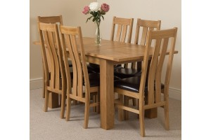 Hampton Solid Oak 120-160cm Extending Dining Table with 6 Princeton Solid Oak Dining Chairs [Light Oak and Brown Leather]