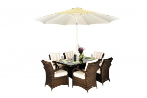Arizona Rattan Garden Furniture [6 Seat Dining Set with Rectangular Table]