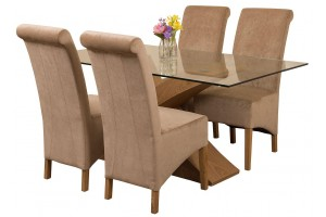 Valencia Oak 160cm Wood and Glass Dining Table with 4 Montana Dining Chairs [Beige Fabric]