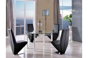 Torino Designer 74cm-120cm Extending Dining Table with 4 Rita Designer Dining Chairs [Black]