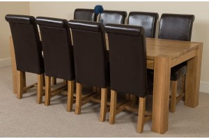 Kuba Solid Oak 220cm Dining Table with 8 Washington Dining Chairs [Brown Leather]