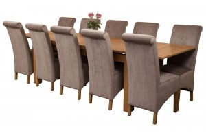 Richmond Solid Oak 200cm-280cm Extending Dining Table with 10 Montana Dining Chairs [Grey Fabric]