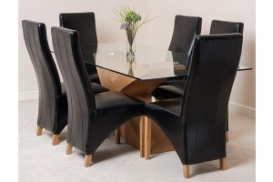 Valencia Oak 200cm Wood and Glass Dining Table with 6 Lola Dining Chairs [Brown Leather]