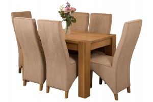 Kuba Solid Oak 125cm Dining Table with 6 Lola Dining Chairs [Beige Fabric]
