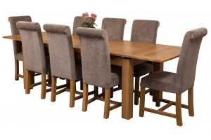 Richmond Solid Oak 200cm-280cm Extending Dining Table with 8 Washington Dining Chairs [Grey Fabric]