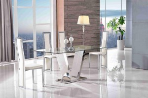 Valentino Glass and Steel Designer Dining Table with 6 Elsa Designer Dining Chairs [Ivory]