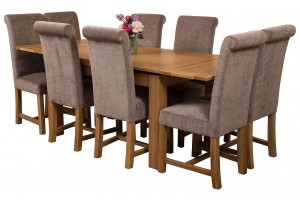 Richmond Solid Oak 140cm-220cm Extending Dining Table with 8 Washington Dining Chairs [Grey Fabric]