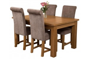 Seattle Solid Oak 150cm-210cm Extending Dining Table with 4 Washington Dining Chairs [Grey Fabric]