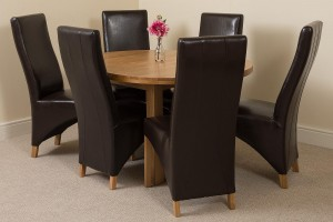 Edmonton Solid Oak Extending Oval Dining Table With 6 Lola Dining Chairs [Black Leather]