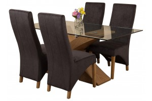 Valencia Oak 160cm Wood and Glass Dining Table with 4 Lola Dining Chairs [Black Fabric]