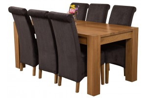 Kuba Solid Oak 180cm Dining Table with 6 Montana Dining Chairs [Black Fabric]