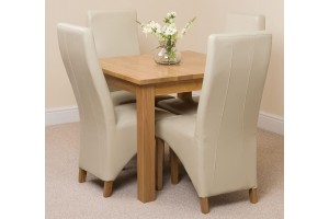 Oslo Solid Oak Dining Table with 4 Lola Dining Chairs [Ivory Leather]