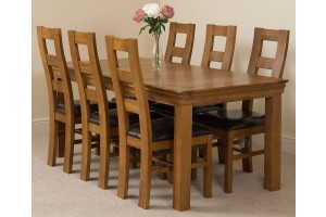 French Chateau Rustic Solid Oak 180cm Dining Table with 6 Yale Solid Oak Dining Chairs [Rustic Oak and Brown Leather]