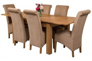 Richmond Solid Oak 140cm-220cm Extending Dining Table with 6 Montana Dining Chairs [Beige Fabric]