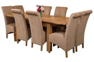 Richmond Solid Oak 140cm-220cm Extending Dining Table with 8 Montana Dining Chairs [Beige Fabric]