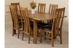 Cotswold Rustic Solid Oak 132cm-198cm Extending Farmhouse Dining Table with 6 Princeton Solid Oak Dining Chairs [Rustic Oak and Brown Leather]