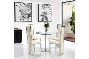 Target Round Glass and Steel 80cm Dining Table with 2 Elsa Designer Dining Chairs [Ivory]