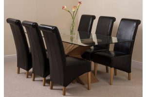 Valencia Oak 200cm Wood and Glass Dining Table with 6 Montana Dining Chairs [Black Leather]