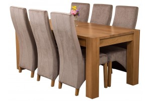 Kuba Solid Oak 180cm Dining Table with 6 Lola Dining Chairs [Grey Fabric]